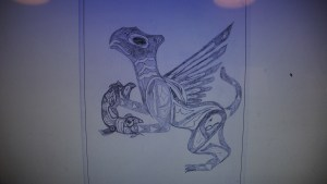 Photo of a Griffin pencil drawing.