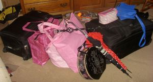 In my defense, one pink tote has food and another has items I was giving away at my panels.