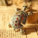 Rhinestone Crystal Jewelry Turtle Necklace with Chain $0.95 + FREE shipping!