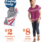 Old Navy: $2 Women's Tanks AND $8 Kids Jeans! (TODAY ONLY, WHILE SUPPLIES LAST)