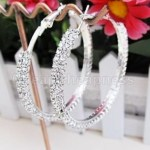 Silver Plated 2-Row Cubic Zirconia Womens Hoop Earrings Only $3.33 + FREE Shipping