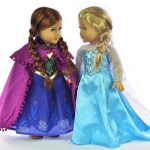 *HOT* Disney Frozen Elsa & Anna Sparkle Princess Dresses for 18″ Dolls (American Girl Dolls and More)