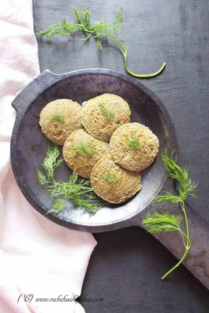 Green Moong and vegetable idli