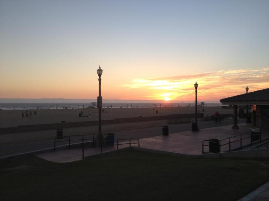 "At sunset on Huntington Beach, the sea turns ""angrier."""