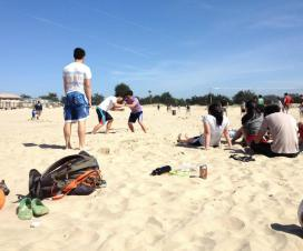 Sand wrestling at the beach