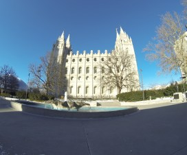 The famous Salt Lake Temple looming over Temple Square