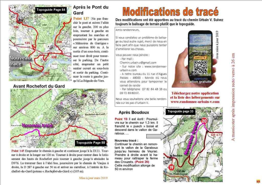 Modifications de tracé 2019 (1/2)