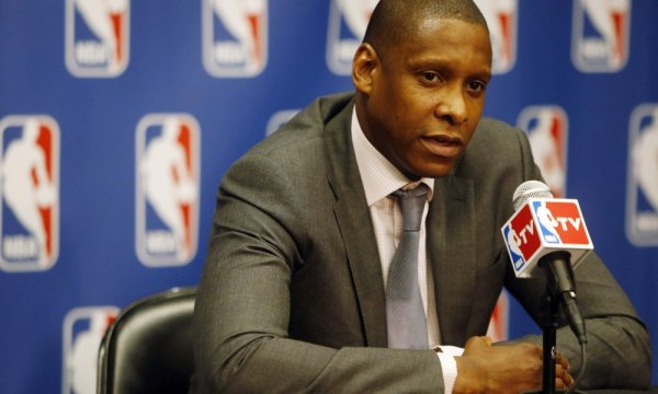 May 9, 2013; Denver, CO, USA; Denver Nuggets general manager Masai Ujiri during the press conference naming him NBA executive of the year at the Pepsi Center. Mandatory Credit: Chris Humphreys-USA TODAY Sports ORG XMIT: USATSI-133736 ORIG FILE ID: 20130509_jla_aq2_017.jpg