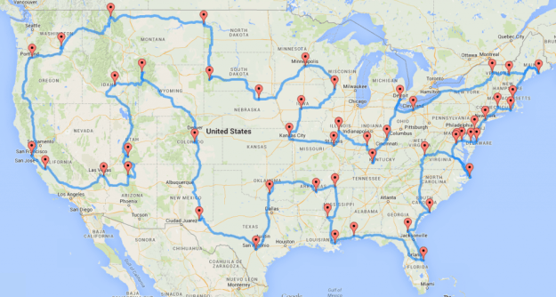 Randal Olson's minimum-distance road trip