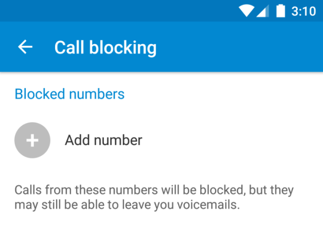 Android N Number block