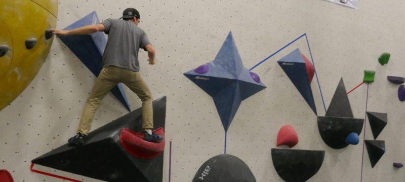 Joel Levy bouldering at Hub Climbing
