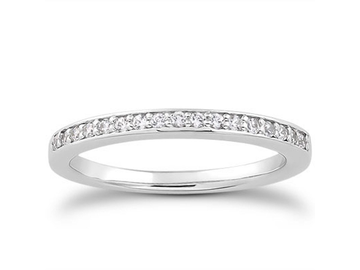 Micro pave Diamond Wedding Ring Band in 14K White Gold wedding ring band Micro pave Diamond Wedding Ring Band in 14K White Gold