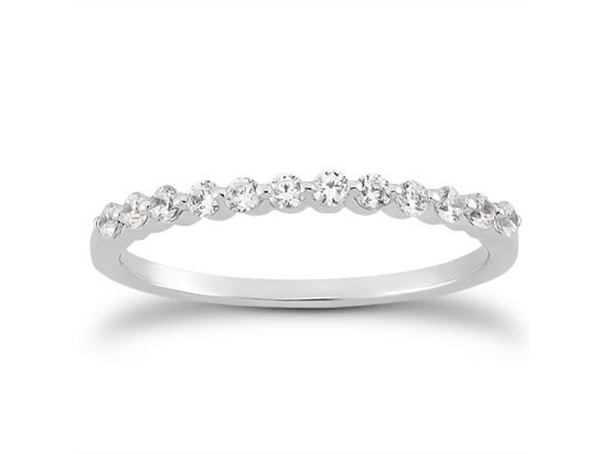 Single Shared Prong Diamond Wedding Ring Band in 14K White Gold wedding rings and bands