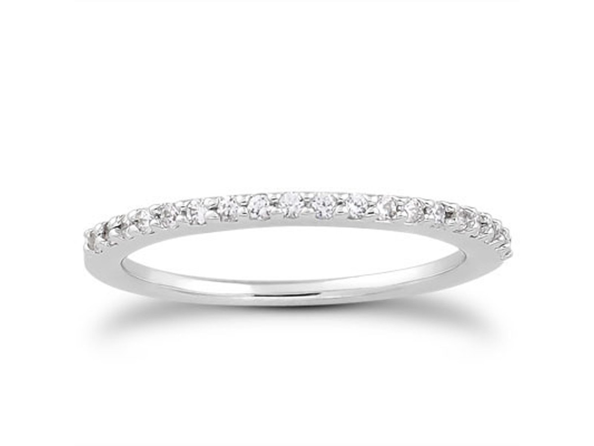 Slender Micro Prong Diamond Wedding Ring Band in 14K White Gold wedding ring band