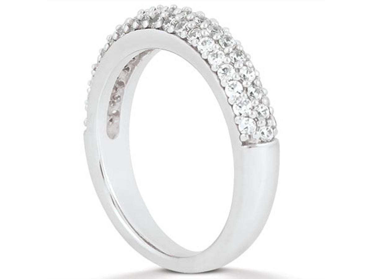 Triple Row Micro Pave Diamond Wedding Ring Band in 14K White Gold triple band wedding ring