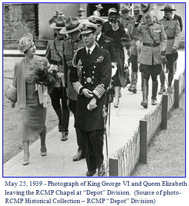 Photograph of King George VI and Queen Elizabeth - visiting RCMP 'Depot' Division in Regina, Sask.