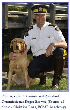 "Photograph of Suzannah with Commanding Officer at RCMP ""Depot"" Division"