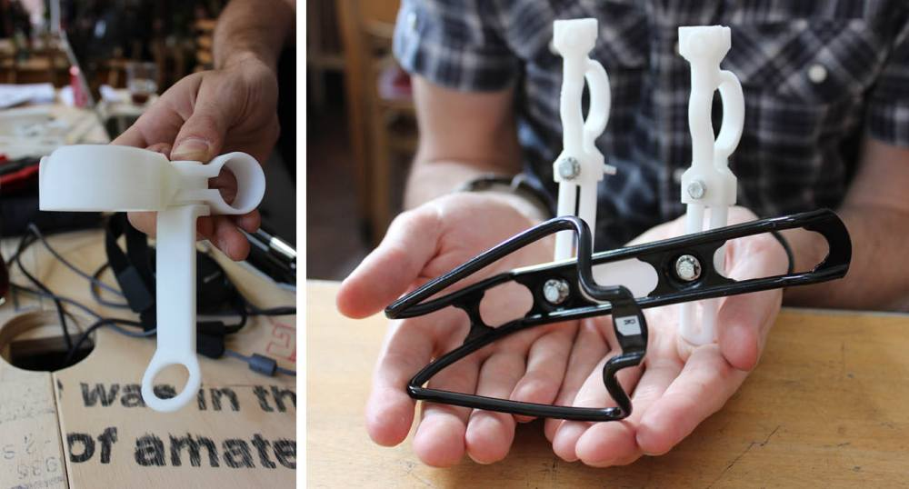 Exploring 3D printed water bottle cages as part of 3D retail printing.