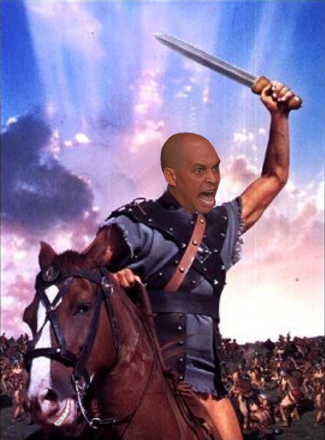 "an image of cory booker as spartacus, it's an image of kirk douglas from the film ""Spartacus"" riding his horse into balttle with his sword help high. Cory Booker's head has been substituted for Kirk's, it looks very funny as Cory is yelling and looks very mad in the image and his horse is smiling wide!!."