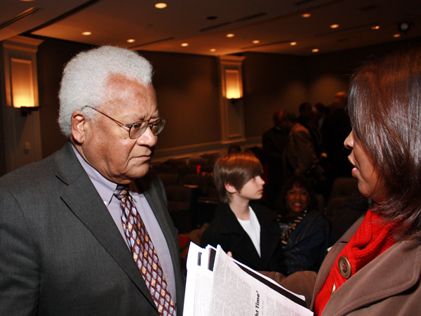James Lawson talking with an audience member following a panel discussion on the Nashville sit-in movement at Vanderbilt University.