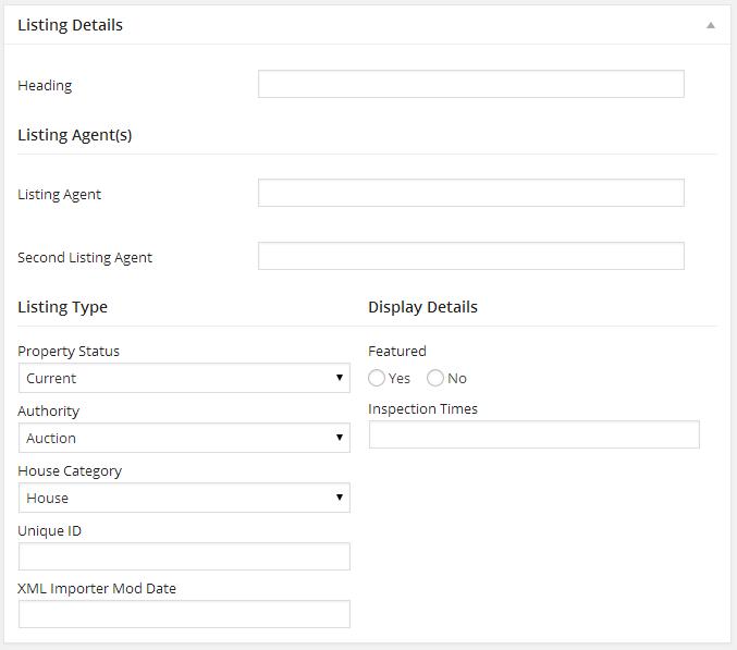 Listing Edit - Listing Details