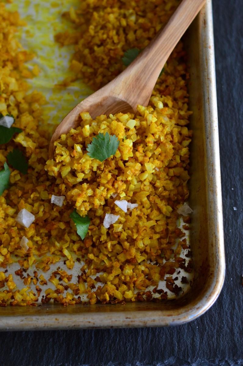 Turmeric Roasted Cauliflower Rice