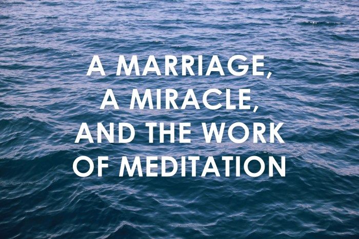 A Marriage, a Miracle, and the Work of Meditation