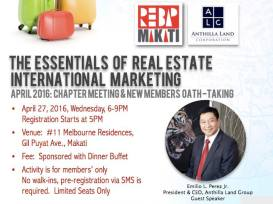 REBAP Makati Membership Meeting hosted by Anthilla Land Group at the rooftop of Melbourne Residences last April 27, 2016. Guest speaker President & CEO of Anthilla Land Group Emil Perez Jr. presented The Essentials of International Real Estate Marketing.