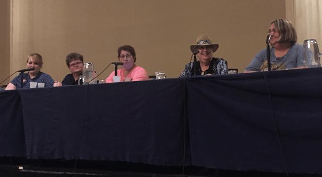 Women's Historians panel (L-R): Allison Johnelle Boron, Kit O'Toole, Susan Ryan, Katie Jones, and Sara Schmidt