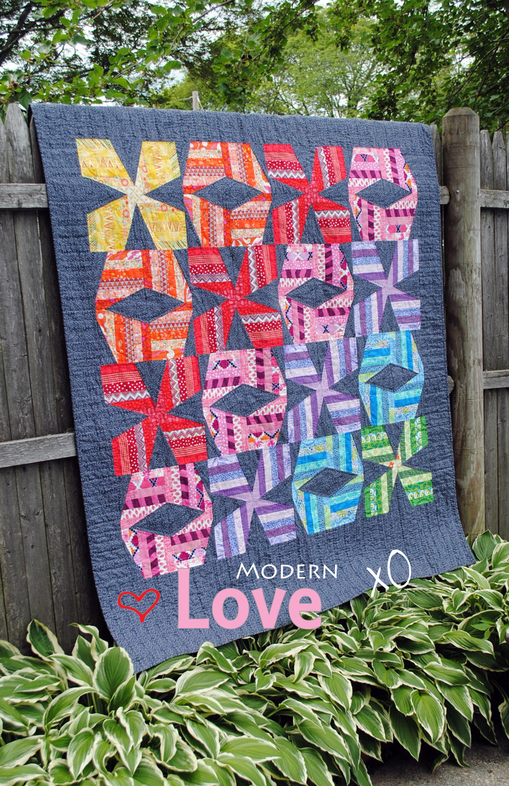 Modern love xo quilt pattern for Modern house quilt pattern