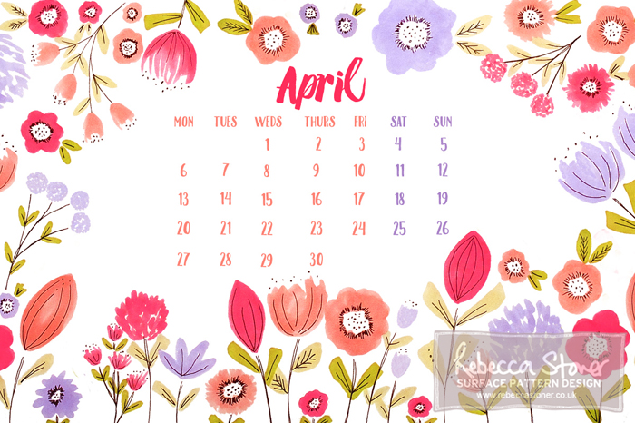 April Desktop Calendar - Blog Post - Rebecca Stoner