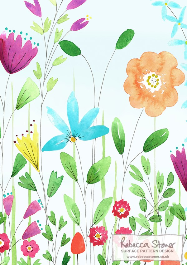 Summer Meadow Wallpaper - Grasses - by Rebecca Stoner