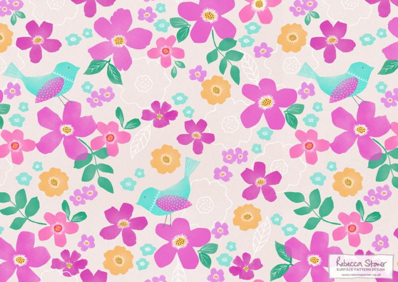 Floral Bird Pattern by Rebecca Stoner
