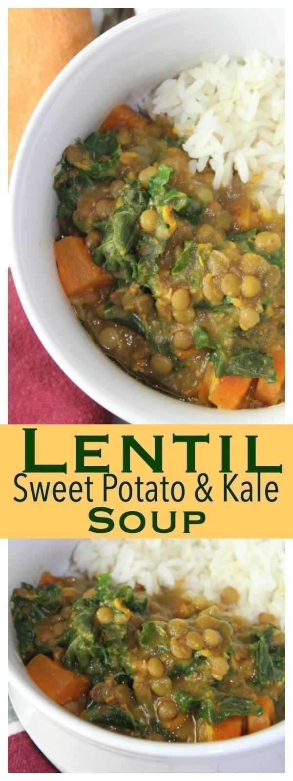 Lentil, Sweet Potato & Kale Soup