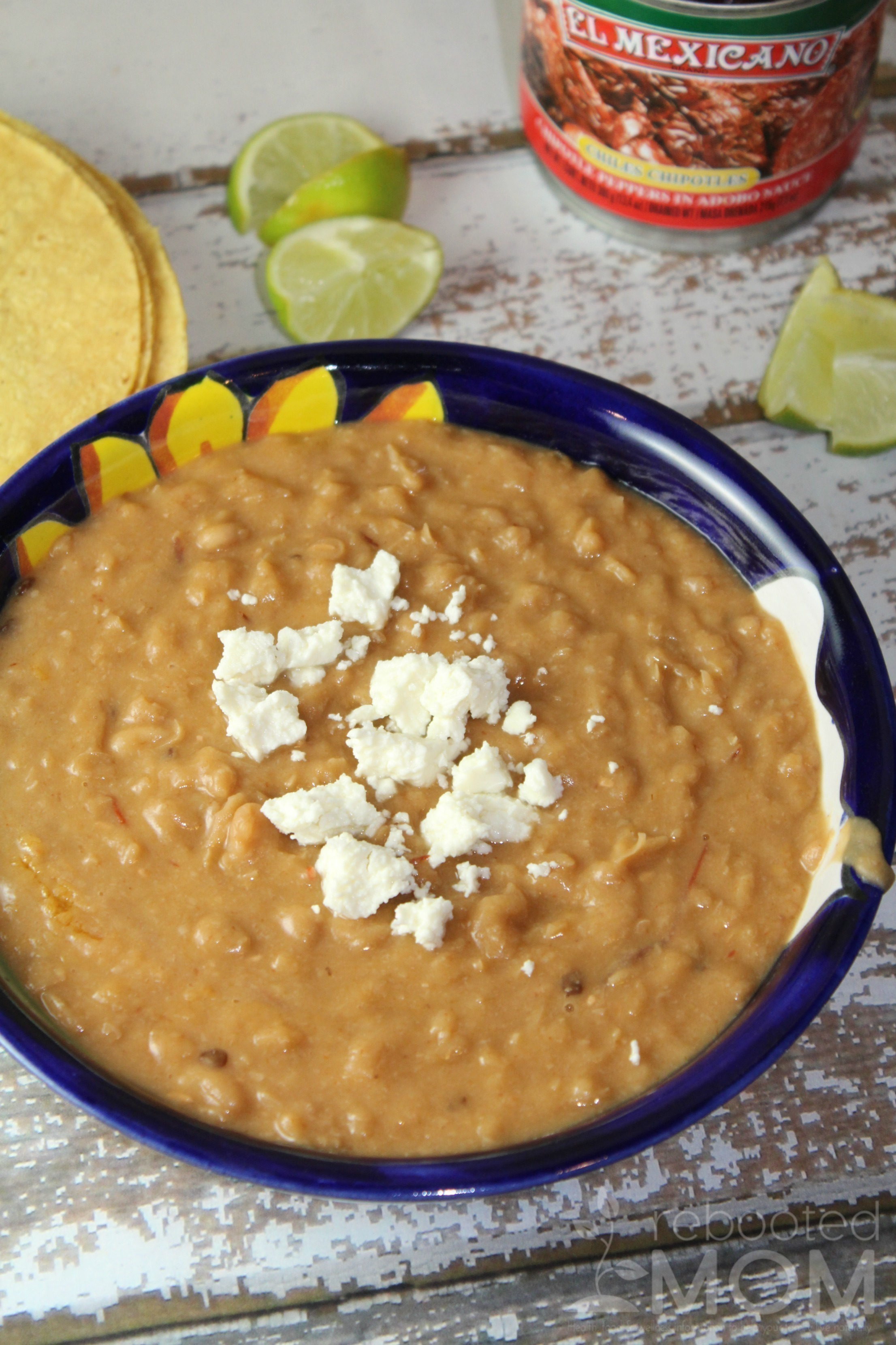Combine peruano beans with a few chipotle peppers and chipotle sauce to make creamy refried beans with lots of zip that are perfect for burritos, enchiladas, or even for dipping tortilla chips.