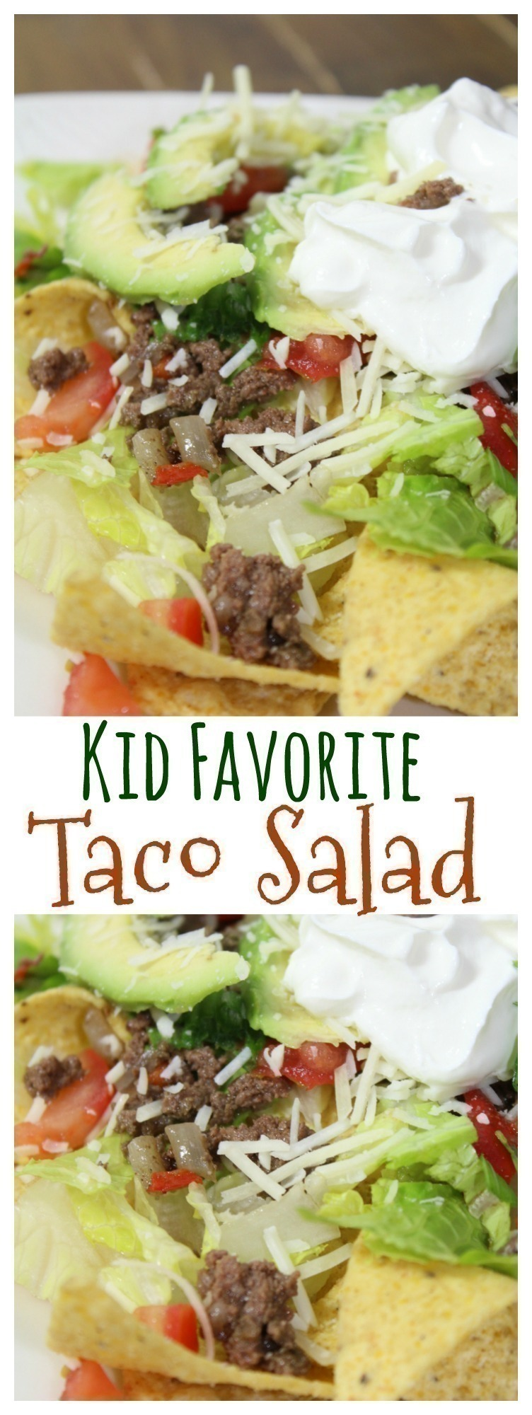 This incredibly easy taco salad is a FUN kids favorite ~ not to mention, a great way for your kids to get some veggies!