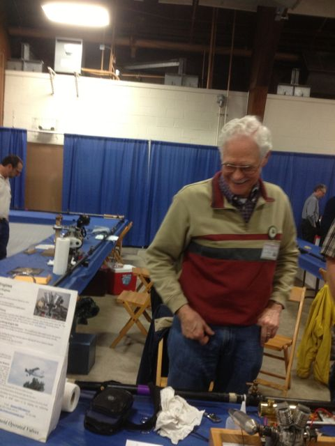 David Bowes shows off his latest camless engines at NAMES, April 2013.