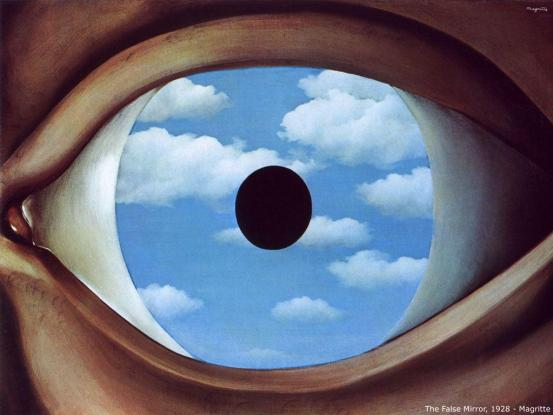 False Mirror by Magritte; The idea, I suppose is that the eye is a false mirror of the world, seeing what's already within it.