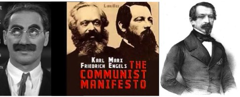 Marx and Engles (middle) wrote the Communist Manifesto in 1848, the same year that Lincoln joined the new Republican Party, and the same year that saw Louis Napoleon (right) elected in France. The communists both wear full bards, but there is something not-quite sincere in the face hair at right and left.
