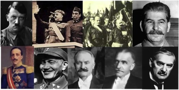 War of the mustache men. Top row: axis leaders at the beginning of WWII; l-r: Hitler, Franco (Spain), King Victor Emanuel and Mussolini (Italy), and Stalin (Russia, an early ally of Hitler). Bottom row: allied leaders, l-r; King Alfonso (Spain); Chang Kai Shek (China), François Lebrun (France), Ignazy Moscicki (Poland); N. Chamberlain (UK). All are mustached except Mussolini.