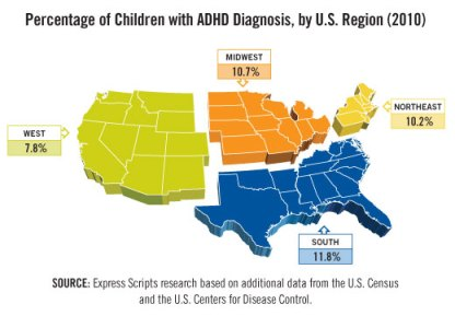 Map  of ADHD variation with location for US kids ages 6-18, Scrips Research.
