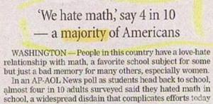 Americans hate math.