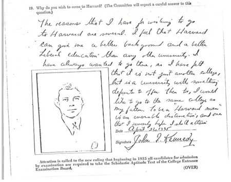 JFK's dull letter to Harvard. It's his only essay.