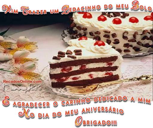 Recado Facebook Vim trazer um pedacinho do meu bolo!