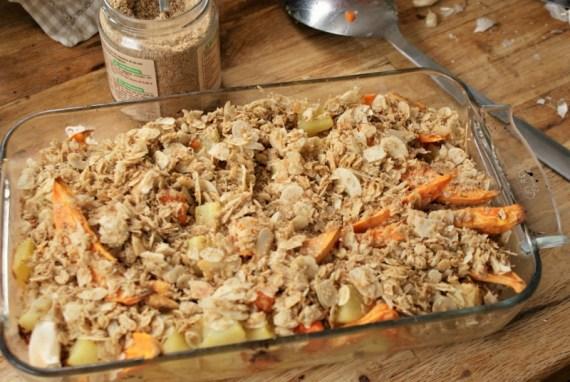 Crumble courge, patate douce, pomme de terre - Recette vegan © Balico & co