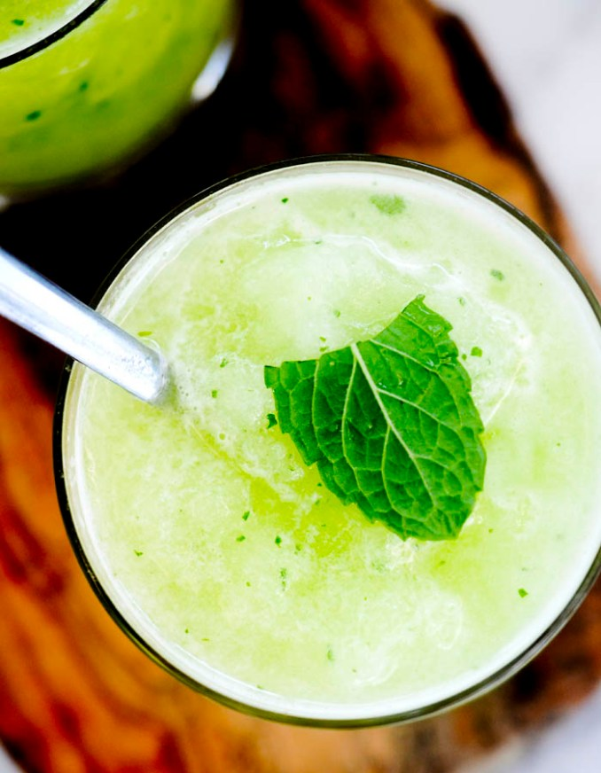 Honeydew Slush - Blended frozen honey dew and mint come together in this refreshing Summer drink!