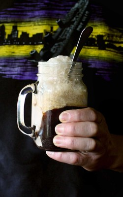 Extra Stout Ice Cream Float w/ maple bourbon caramel sauce