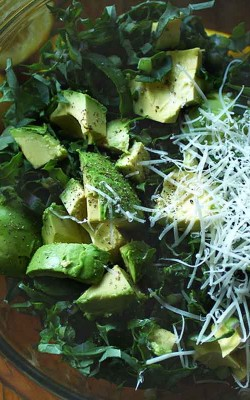 Avocado and Shaved Kale Salad