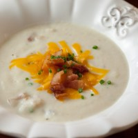 Creamy Cauliflower Soup with Bacon, Cheddar and Chives