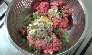 home made beef burger - add ingredients